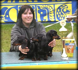 Breeding group in the 2nd place in Banska Bystrica 08/05/2005 - from left Eda, Stella, Bugatti